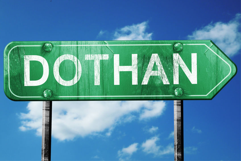 dothan road sign , worn and damaged look